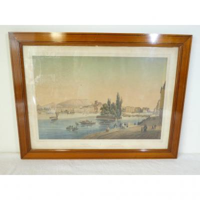 Geneve View From Hotel Des Bergues Lithograph By Jean Jacottet (1806-1880)