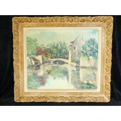 Robert L.P LAVOINE (1916-1999) Peinture Sur Toile Crecy-la-chapelle .