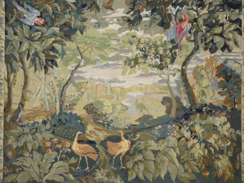 Aubusson Tapestry In Wool Greenery With Birds-photo-2