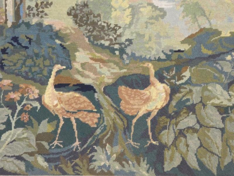 Aubusson Tapestry In Wool Greenery With Birds-photo-4