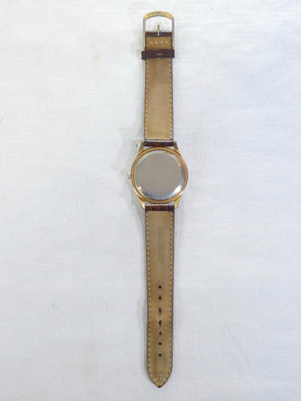Old Omega Men's Watch Made Swiss Vintage Gold Plated Leather Strap-photo-2