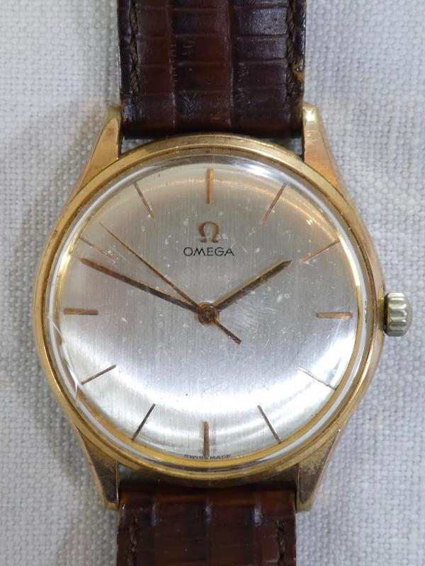 Old Omega Men's Watch Made Swiss Vintage Gold Plated Leather Strap-photo-3