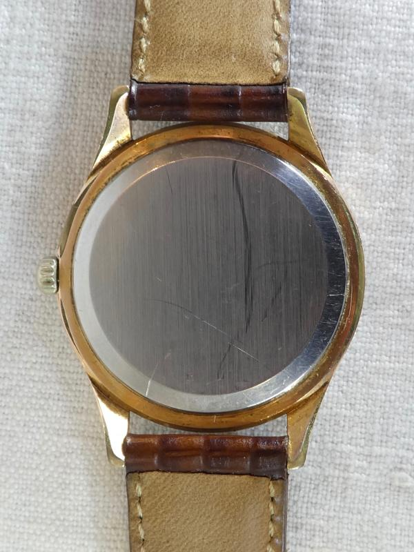 Old Omega Men's Watch Made Swiss Vintage Gold Plated Leather Strap-photo-4