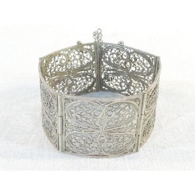 Articulated Bangle In Solid Silver Filigree