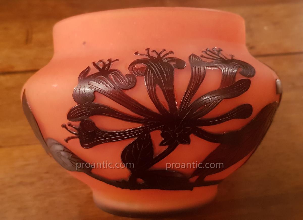 Cup Glass Paste Vase Signed Delatte Nancy
