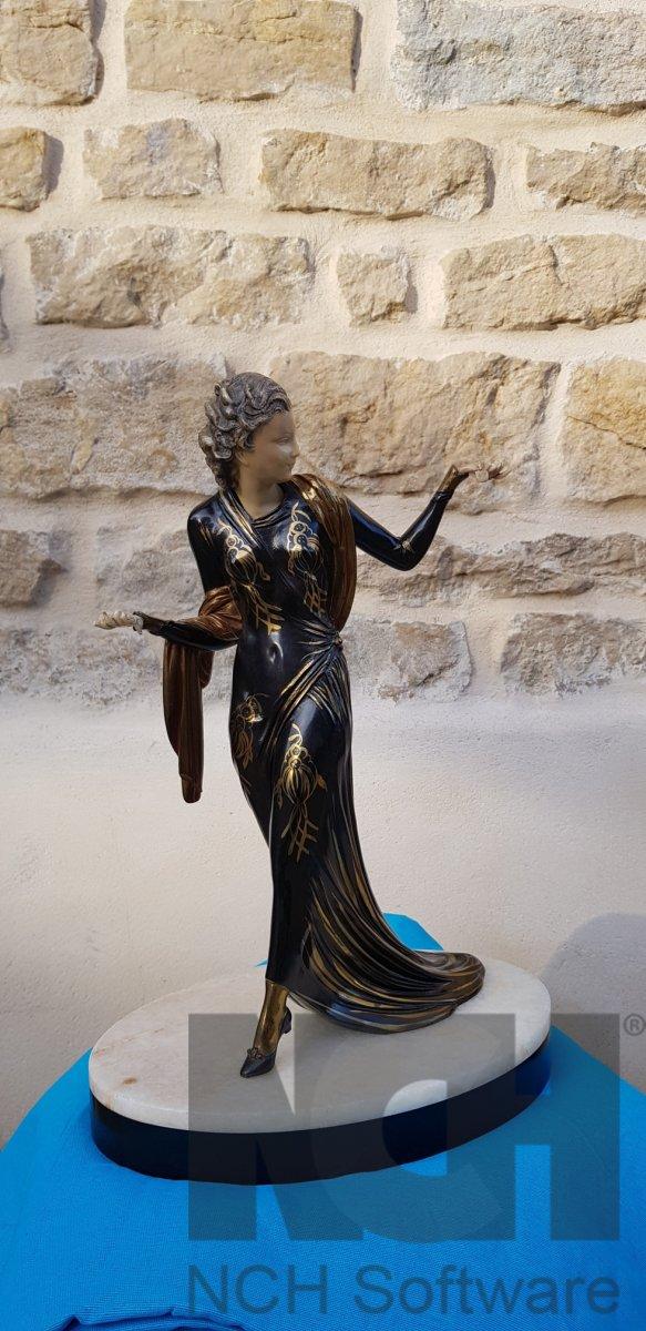 Art Deco Statue In Regulates Signed Menneville
