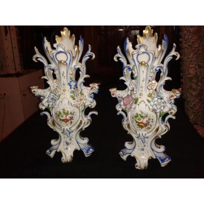 Pair Of Old Paris Vases