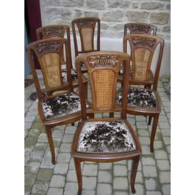 6 Chaises En Noyer Art Nouveau