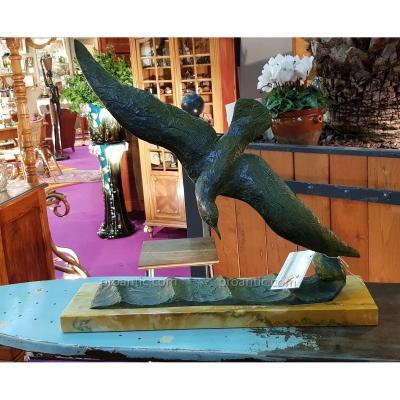 Sculpture En Bronze Sur Marbre De Georges Raoul Garreau