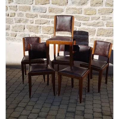 Series Of Six Oak Chairs