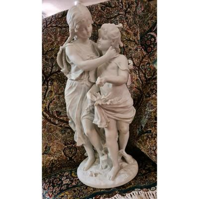 Biscuit Statue 2 Young Girls Signed Hippolyte Moreau