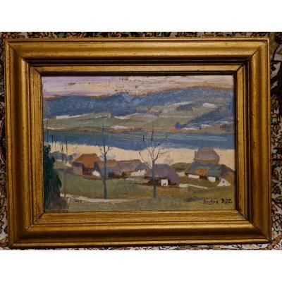 Tableau André Roz (1887-1946) Art Comtois Village