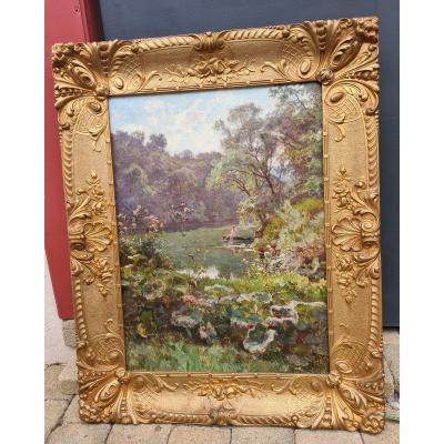 Tableau Emile Isenbart  (1846 - 1921 )la Barque ,art Comtois