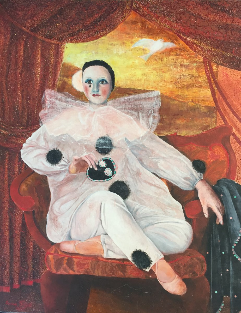 "Painting Representing ""pierrot And The Dove"" By Pierre Fajol"