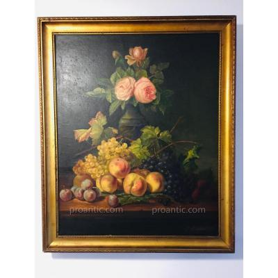 Table Still Life Flowers And Fruits Nineteenth 76 X 63