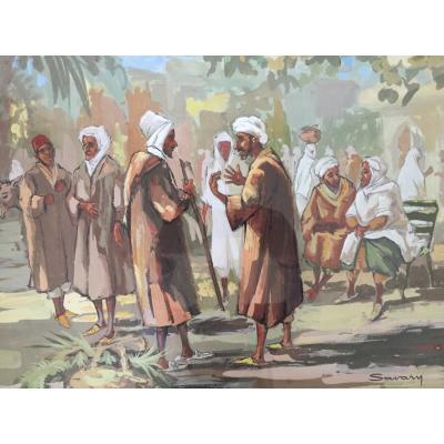 Orientalist Gouache Signed Savary