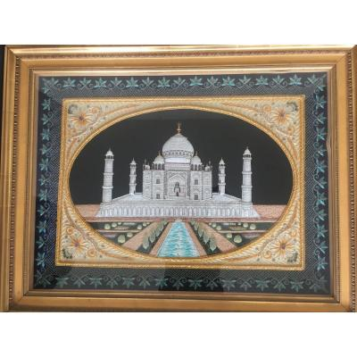 Embroidery Table Representing The Taj Mahal