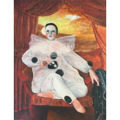 """Painting Representing """"pierrot And The Dove"""" By Pierre Fajol"""