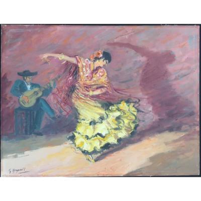 Peinture de G.REGNAULT, Danseuse de Flamenco à Tolède
