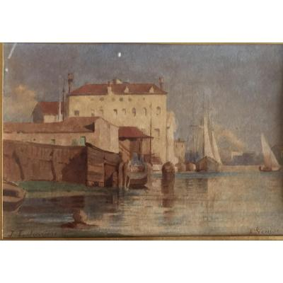 Watercolor Of Venice, View Of The Arsenal