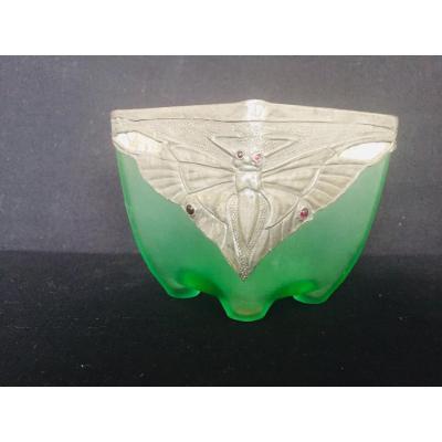Pâte de verre Art Nouveau , décor aux papillons