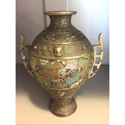 19th Century China Cloisonne Bronze Vase