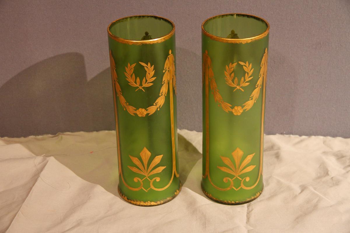Paire De Vases En Verre, Vert Et Or, d'époque Napoléon III