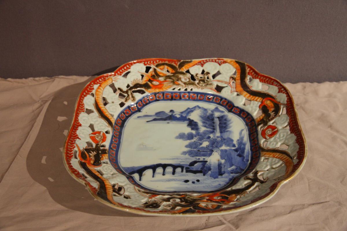 Plat Chinois Ajouré En Céramique à Décor De Dragon, d'époque Fin XIXème Siècle