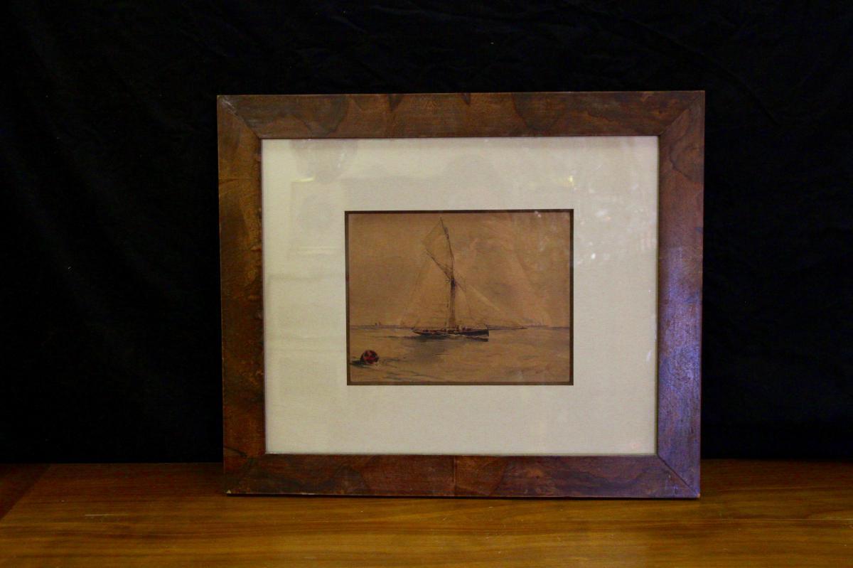 Marine à L'aquarelle, datée 1900