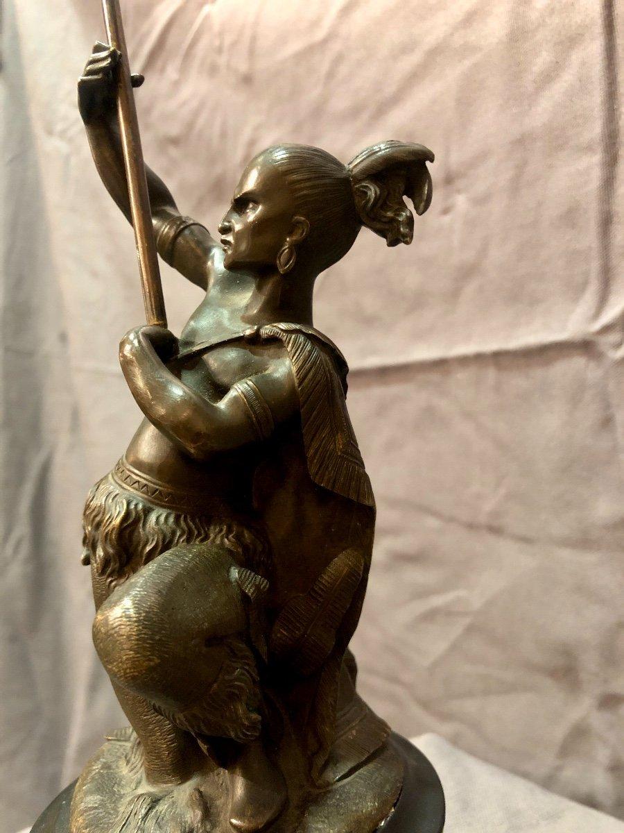 Bronze figurant un guerrier iroquois, XIXe siècle -photo-2