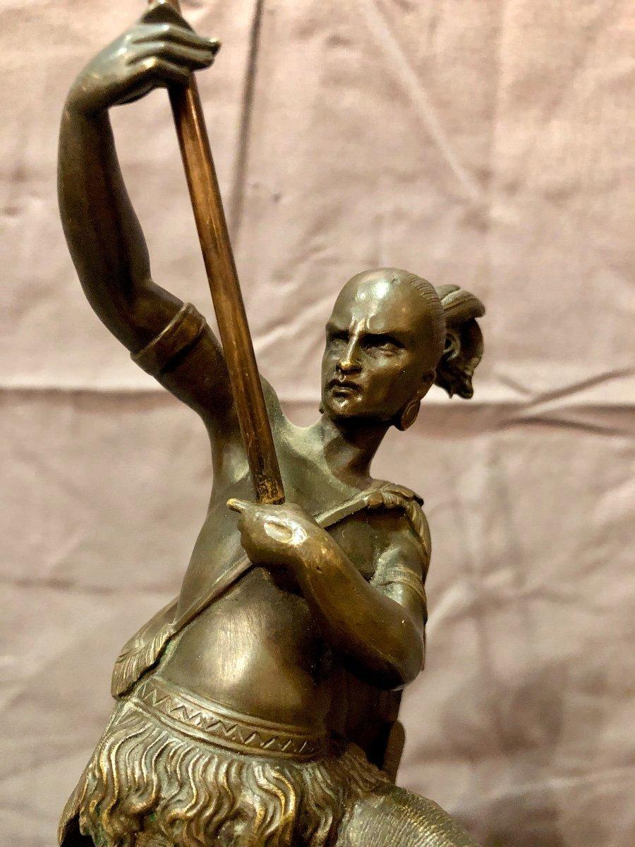 Bronze figurant un guerrier iroquois, XIXe siècle -photo-4