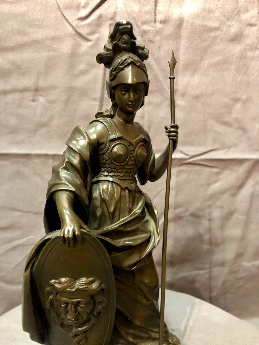 Bronze figurant Athéna en armes, XIXe siècle -photo-3