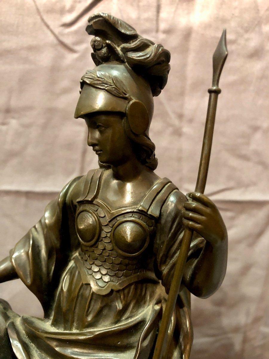 Bronze figurant Athéna en armes, XIXe siècle -photo-1