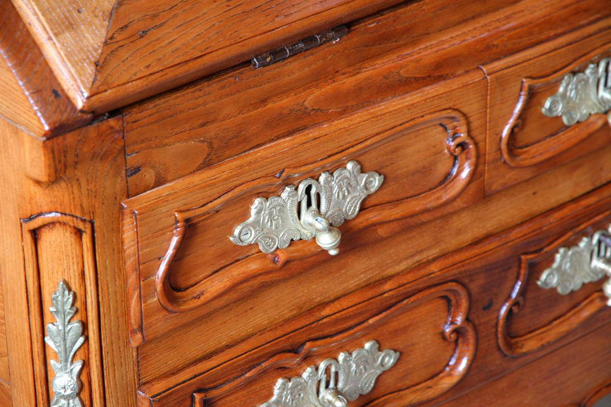 Scriban In Oak, System And Secret With Its Closure, Louis XV Period-photo-2