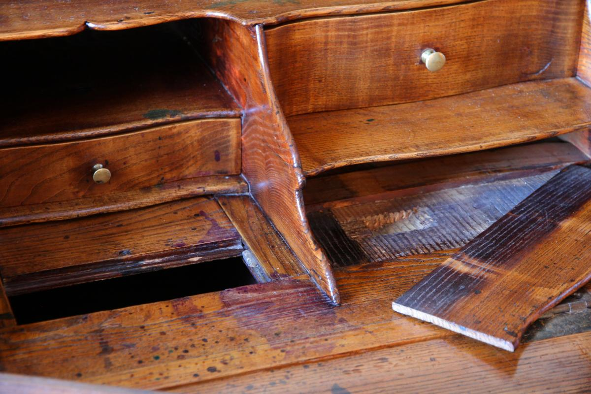 Scriban In Oak, System And Secret With Its Closure, Louis XV Period-photo-3