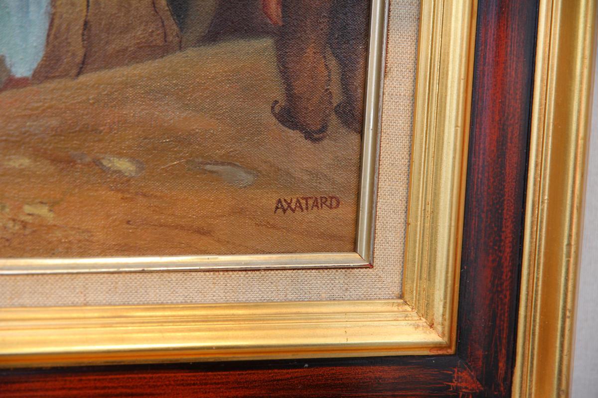 Huile Sur Toile Figurant Une Corrida Signée « Axatard », XXe Siècle-photo-3