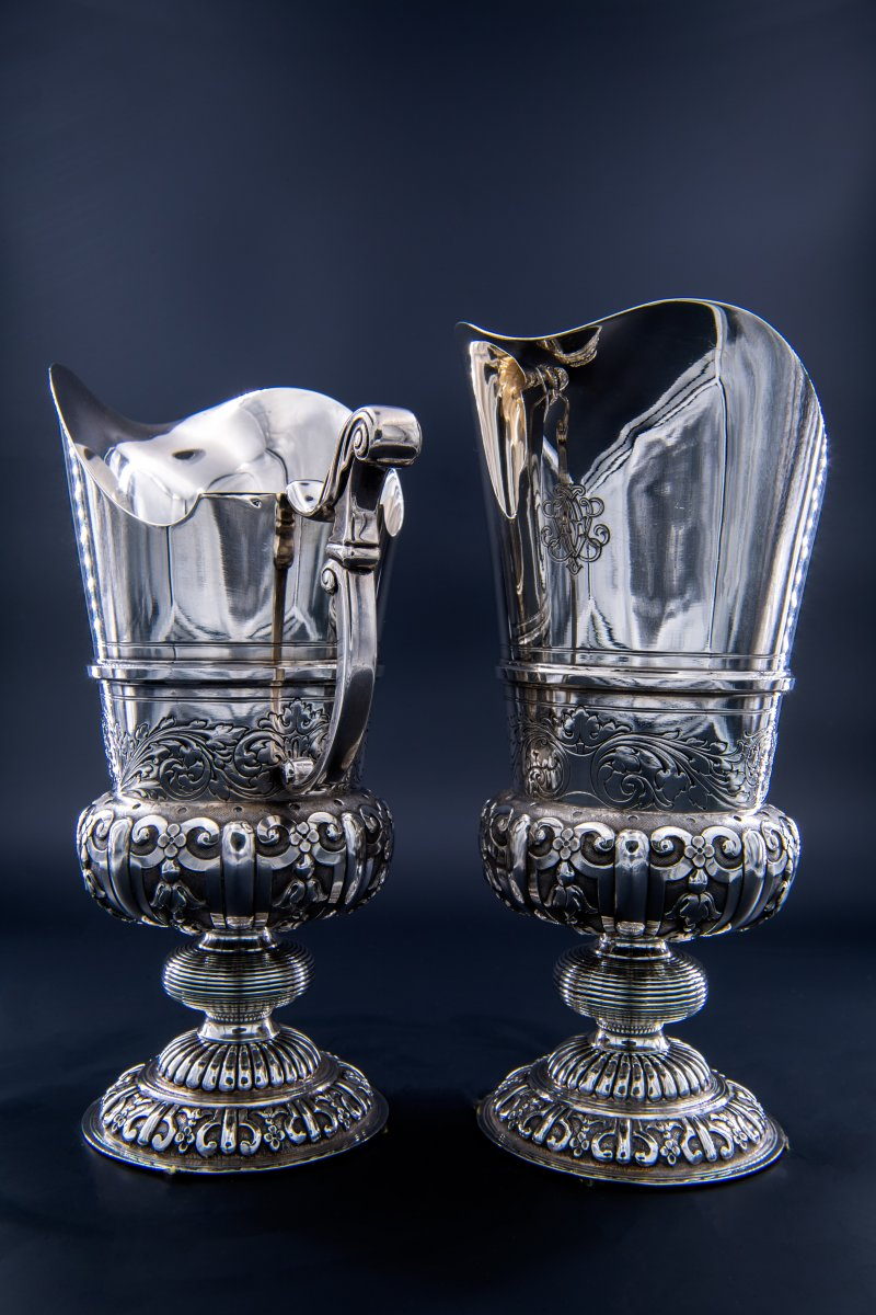 A Pair Of Silver Ewers From Mafteux (or Mattheux) De Chevannes, Second Empire (1851 - 1870)
