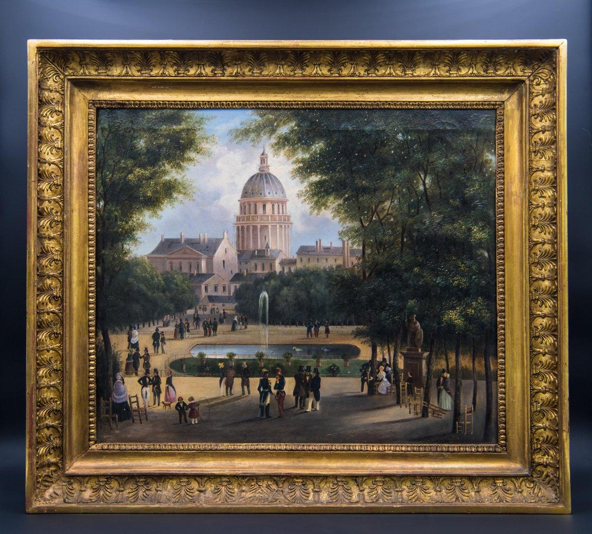 Huile Sur Toile «vue Sur Le Panthéon», XIXe Siècle