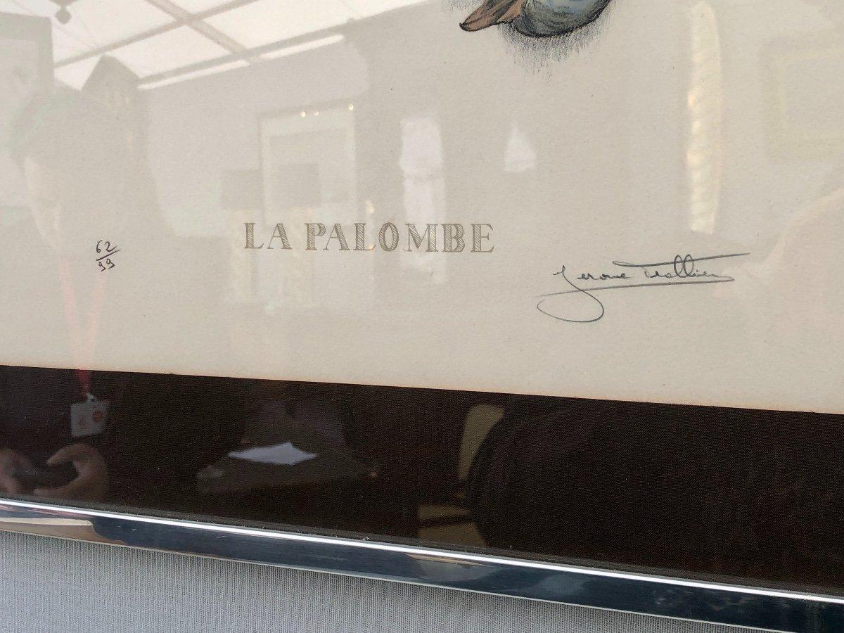 Paire De Lithographies Aux Palombes, Signée Jérôme Trolliet Et Datée 1972 -photo-3