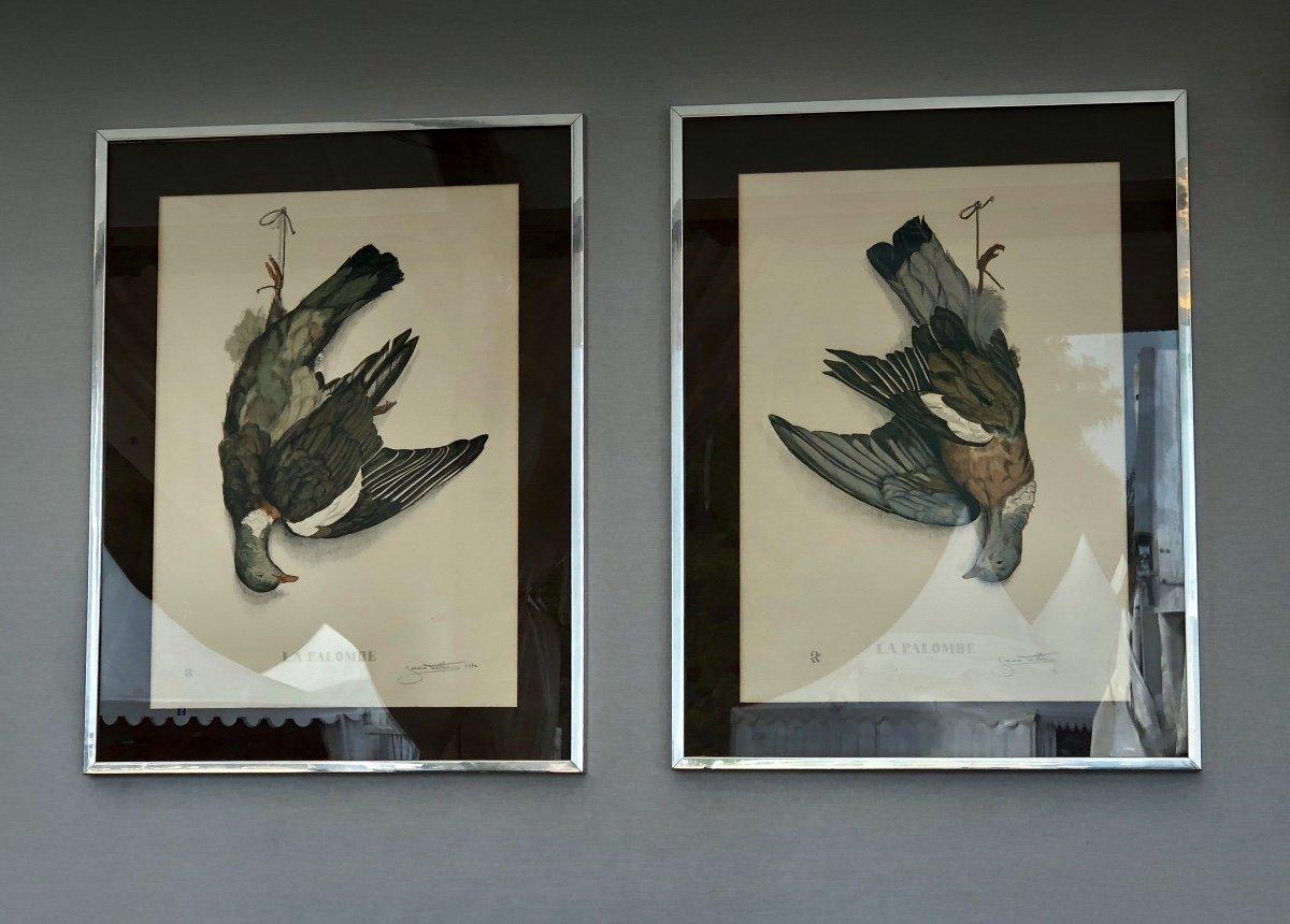 Paire De Lithographies Aux Palombes, Signée Jérôme Trolliet Et Datée 1972