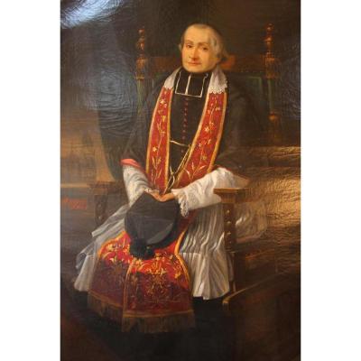 Une Huile Sur Toile Datée De 1890 Figurant Un prêtre