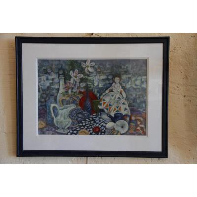Une Huile Sur Toile De Style Cubiste Signée Rohr, d'époque XXe Siècle