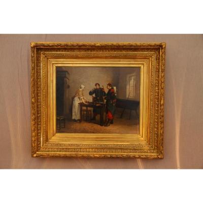 Huile Sur Toile Signée A. Ganlault, d'époque XIXe Siècle