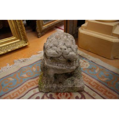 Lion De Fo Sculpté, Travail Chinois, XIVe / XVe Siècle