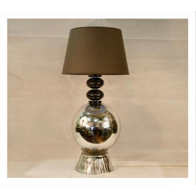 Lampe En Aluminium Et Verre Murano, Début XXIe Siècle