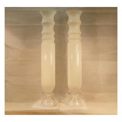 Paire De Hauts Vases Murano Blancs, XXe Siècle
