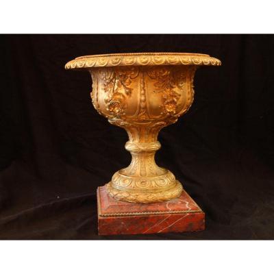 Coupe En Bronze Doré Sur Socle Marbre, D'époque XIXe Siècle