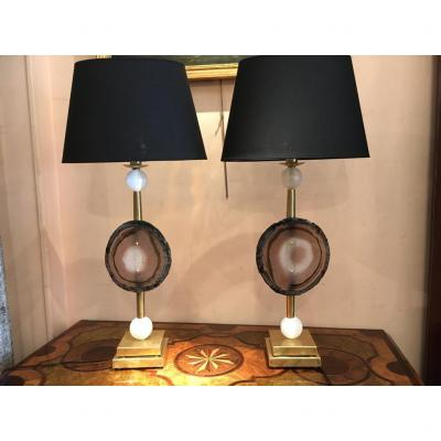 "Pair Of ""fossil"" Lamps, 20th Century"