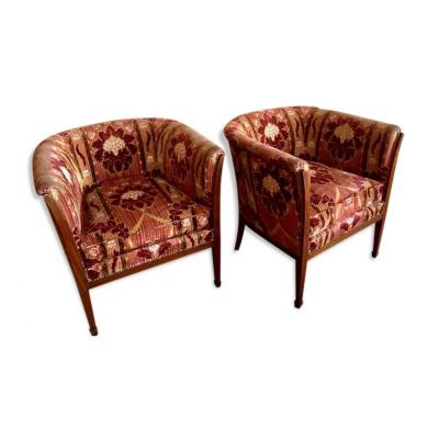 Pair Of Upholstered Armchairs, 20th Century