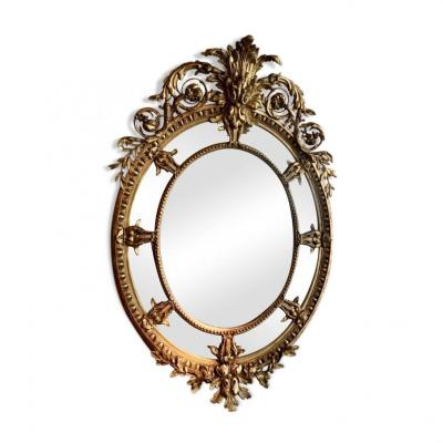 Gilded Wood And Stucco Mirror, 19th Century